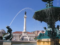Fountain - Lisbon. A fountain in a plaza in Lisbon, Portugal Stock Photography