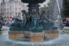 Fountain in a Lisbon square Royalty Free Stock Image
