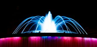 The colorful Fountain at the Catalonia Square in the Barcelona. The fountain located at the Catalonia Square in Barcelona Catalonia, Spain. The gradient lights Royalty Free Stock Photos