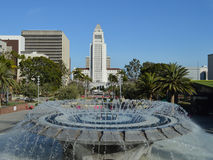 Fountain in Los Angeles. Fountain in Grand Park Los Angeles with City Hall in Background Stock Photos