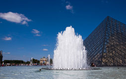 The fountain at the Louvre Stock Photo
