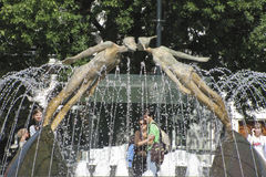 Fountain for lovers in the town square. In Kharkiv stock photo