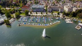 Fountain And Luxury Marina Boats In Zurich Switzerland Aerial View Royalty Free Stock Images