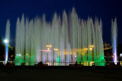 Fountain. Main fountain in the Gorky Park in Moscow at night Royalty Free Stock Image