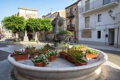 Main square of Lascari, Sicily, Italy. Fountain on the main square of Lascari, Sicily, Italy Stock Images