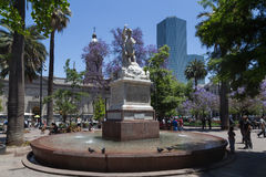 Fountain on the main square in Santiago de Chile Stock Photography