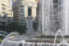 Fountain in the main square in Valencia Stock Photo