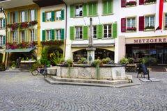 Fountain at main street in City of Morat (Murten) Royalty Free Stock Photo