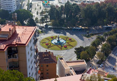 Fountain in Malaga from Above Stock Images