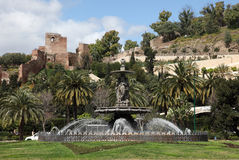Fountain in Malaga, Spain Royalty Free Stock Images