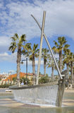 Fountain on Malvarossa beach. Valencia. Spain Stock Photos