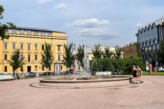 Fountain on Manezh square in St. Petersburg Stock Images