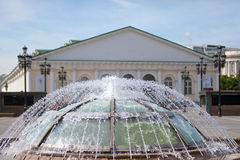 Fountain on a Manezhnaya Square,Moscow. Russia. Royalty Free Stock Photography