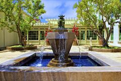 Fountain With Master Yoda Statue Royalty Free Stock Photos