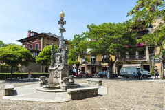 Fountain in the medieval village of Comillas in Spain Royalty Free Stock Images