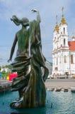 Fountain Merger of three rivers, Vitebsk, Belarus. VITEBSK, BELARUS - JULY 13, 2016: Fragment of fountain Merger of three rivers on background of Holy Stock Photo