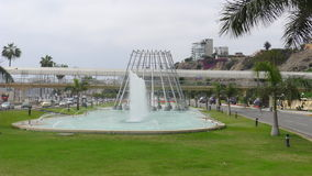 Fountain in the middle of a highway in Chorrillos Royalty Free Stock Image