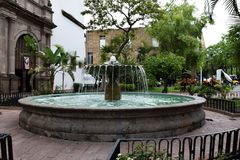 Fountain in the middle of a park. Working fountain in the middle of a park guadalajara downtown royalty free stock images