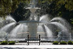 Fountain in the middle of a square Royalty Free Stock Photo
