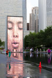 Fountain in Millennium Park at dusk. Royalty Free Stock Photography