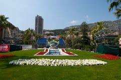 Fountain and mirror near Monte Carlo grand casino Stock Photography