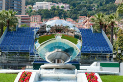 Fountain and mirror near Monte Carlo grand casino Stock Photo