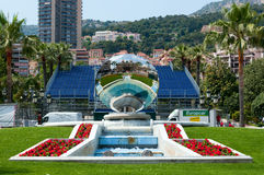 Fountain and mirror near Monte Carlo Grand Casino Royalty Free Stock Photos