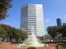 Fountain and  modern building in downtown Dallas Stock Image