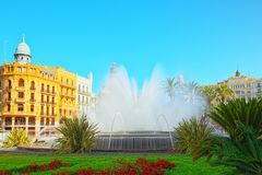 Fountain on Modernism Plaza of the City Hall of Valencia, Town h. Valencia, Spain - June 13, 2017 : Fountain on Modernism Plaza of the City Hall of Valencia royalty free stock photos