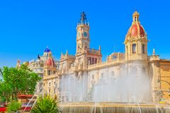 Fountain on Modernism Plaza of the City Hall of Valencia, Town h. All Square Modernisme Plaza of the City Hall of Valencia Placa de l Ajuntament royalty free stock photos