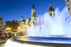 Fountain on Modernism Plaza of the City Hall of Valencia, Town hall Square, Spain. Modernisme Plaza of the City Hall of Valencia Placa del Ajuntament stock photography