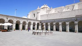 Arcade square in Monastery of the Company Arequipa. Arequipa Peru Spetember 2018 Arcade square in Monastery of the Company stock video footage