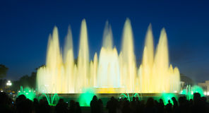 Fountain Montjuic show in Barcelona Royalty Free Stock Photos