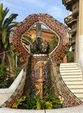 Fountain mosaic. Barcelona landmark, Spain. Royalty Free Stock Photography