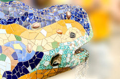 Fountain mosaic salamander head in the park Royalty Free Stock Photography