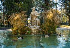 Fountain of Moses in Borghese Gardens. Fountain of Moses showing woman and child in the Borghese Villa Gardens in Rome royalty free stock photography