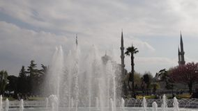 Fountain and mosque stock video