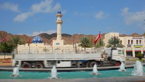 Fountain and mosque in Muscat, Oman stock video