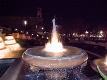 Fountain with movement water in Montjuic Stock Photography