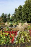 Fountain, Museum Gardens, Beacon Park, Lichfield. View of a fountain in the middle of a flower bed in Museum Gardens, Beacon Park, Lichfield, Staffordshire Royalty Free Stock Image