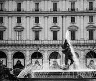 Fountain of the Naiads. Is the centre of the Piazza della Repubblica in Rome black and white Royalty Free Stock Images