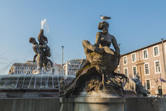The Fountain of the Naiads on Piazza della Repubblica Stock Photos