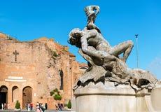 The fountain of the Naiads on Piazza della Repubblica in Rome Stock Images
