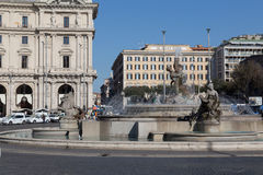 The Fountain of the Naiads on Piazza della Repubblica Stock Images
