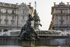Fountain of the Naiads in Repubblica square of Rome, Italy Stock Photos