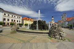 Tulip flowers at Banska Bystrica. Fountain at Namestie SNP square Banska Bystrica, Slovakia Royalty Free Stock Images