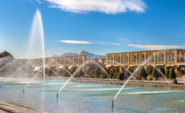 Fountain on Naqsh-e Jahan Square in Isfahan Royalty Free Stock Images