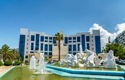Fountain and National Institute of Music in Algiers, Algeria. Fountain and National Institute of Music in Algiers, the capital of Algeria royalty free stock image