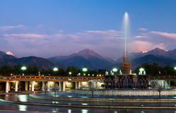 Fountain in National Park of Almaty Stock Photography