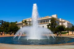 Fountain and Natural History Museum in Balboa Park Royalty Free Stock Photography